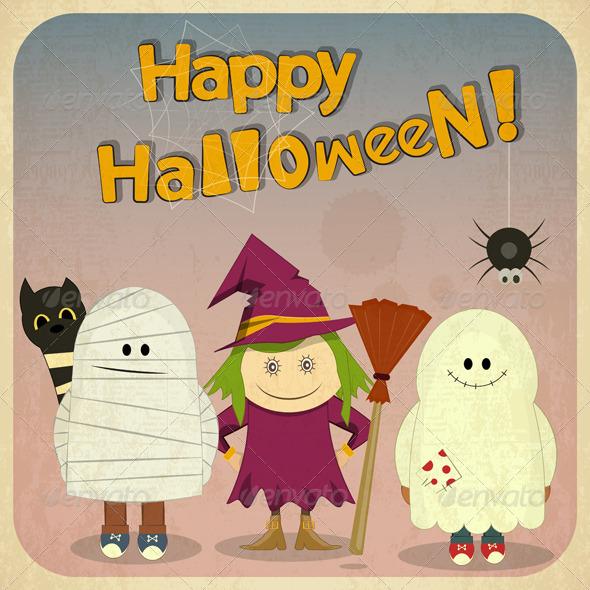 GraphicRiver Halloween Retro Card 5610759