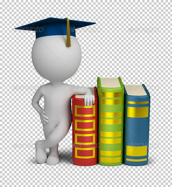 3D small people graduate and books