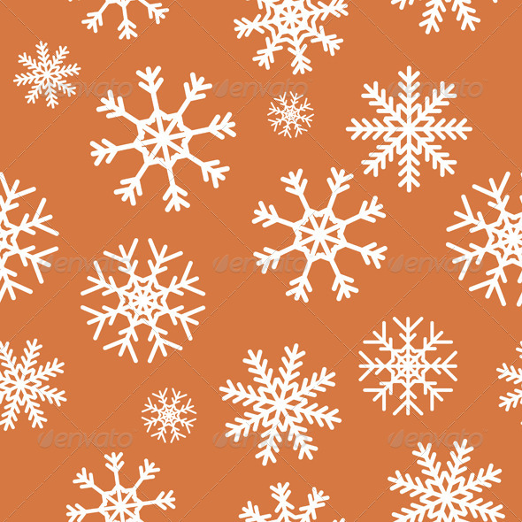 GraphicRiver White Snowflakes on Brown Background 5610782