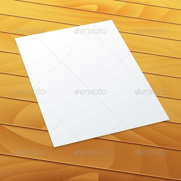 GraphicRiver Blank Empty A4 Office Paper on a Wood Background 5610950