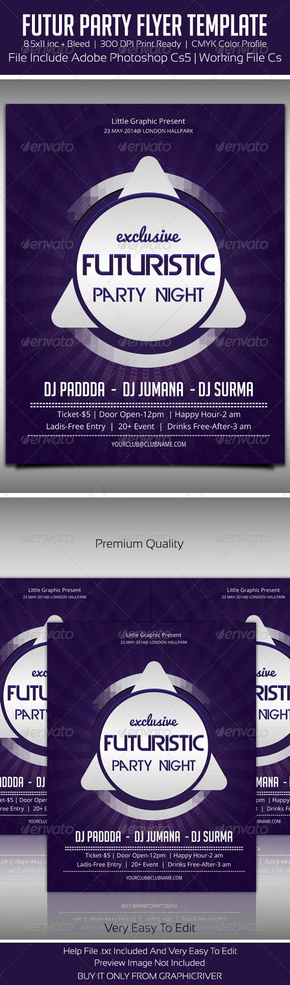 Future Party Flyer 5 - Flyers Print Templates