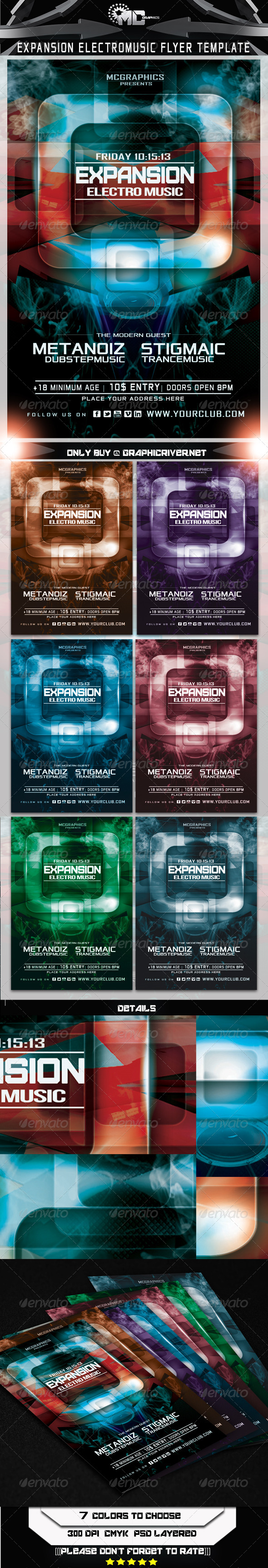 GraphicRiver Expansion Electro Music Flyer Template 5611669