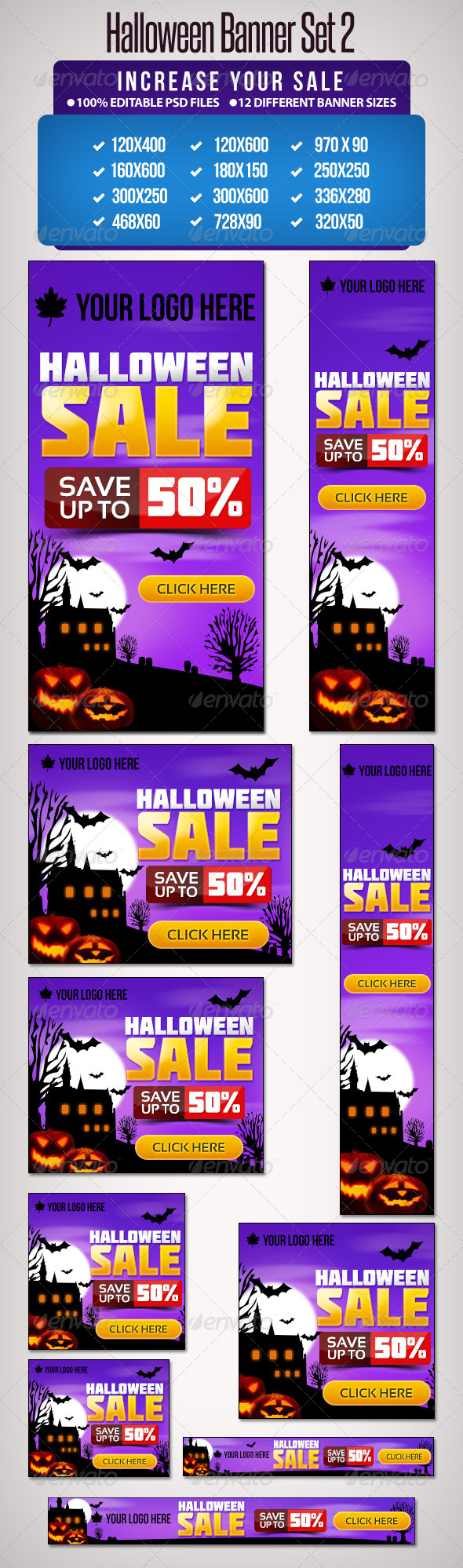 Hallloween Banner Set 2 12 Google Standard Sizes