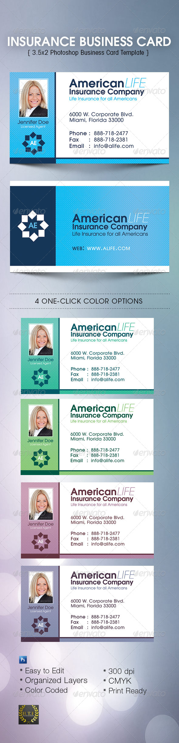 GraphicRiver Insurance Business Card 5437429
