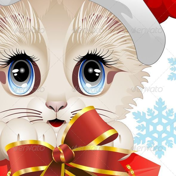 GraphicRiver Christmas Santa Kitten with Big Red Gift 5537504