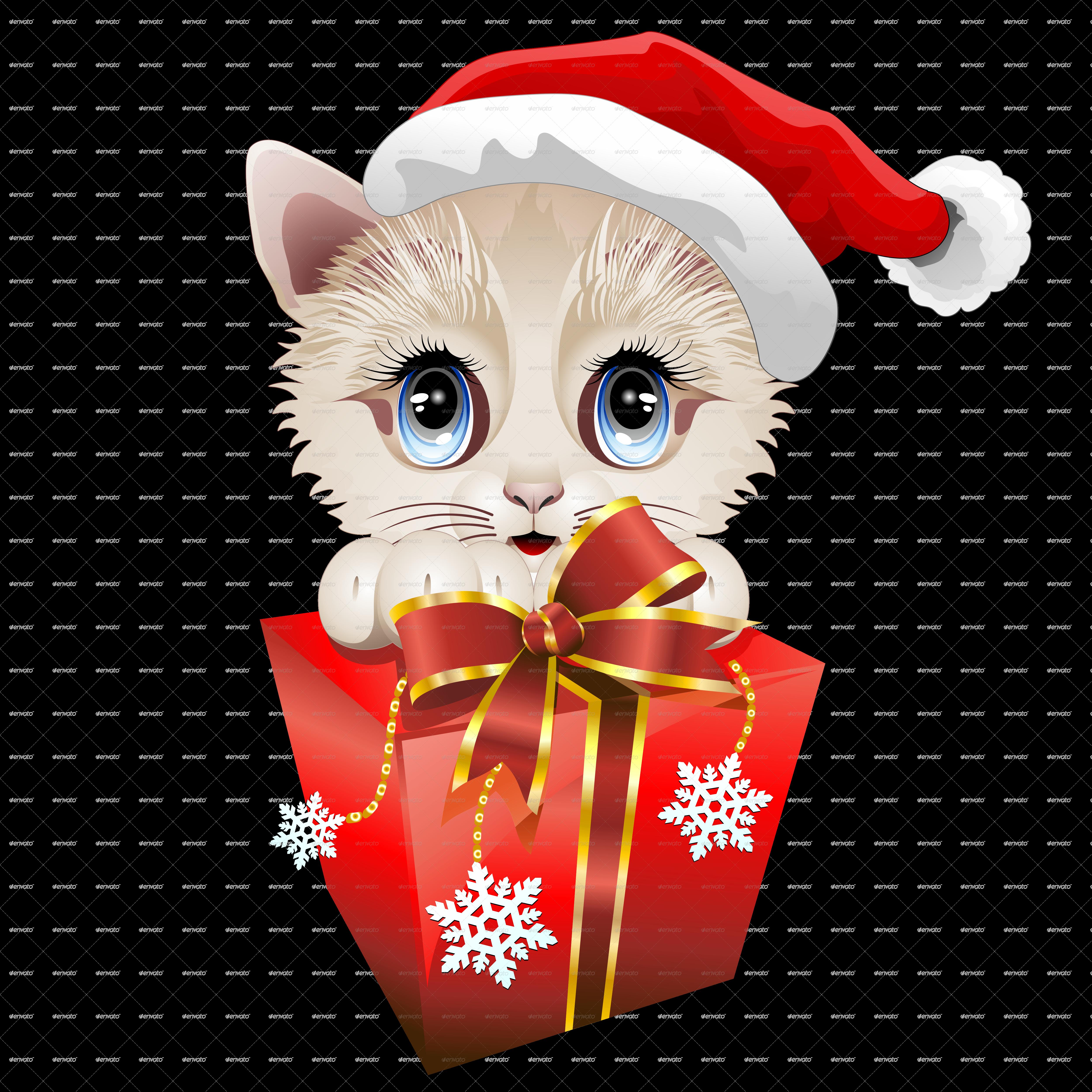 Christmas santa kitten with big red gift by bluedarkat