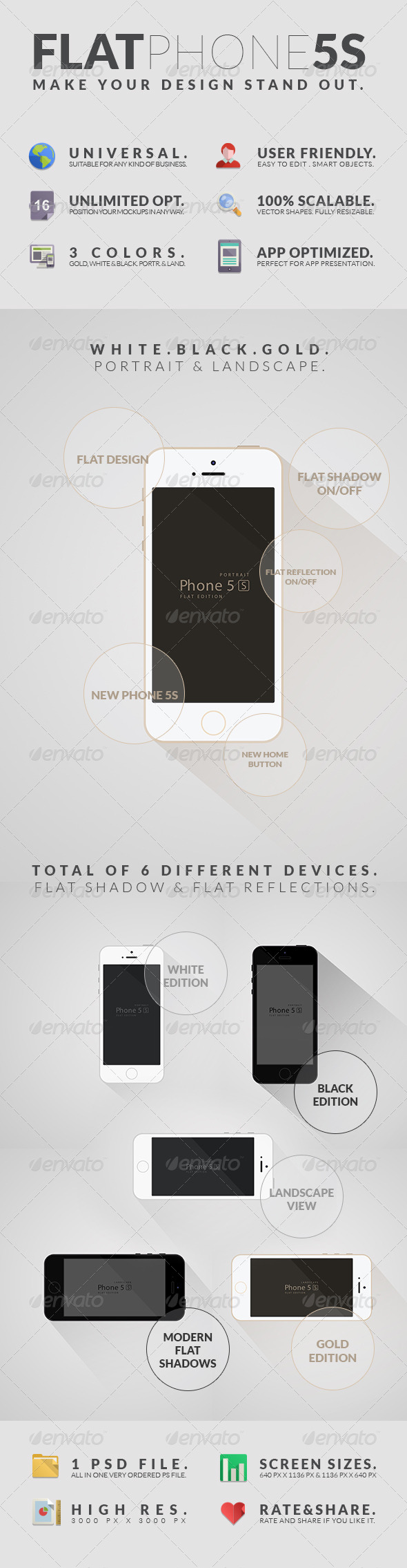 Flat Phone 5S Mockups