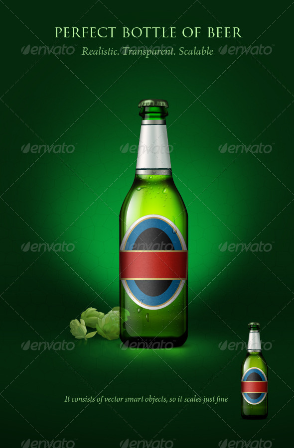 GraphicRiver Transparent beer bottle with blanc labels 577541