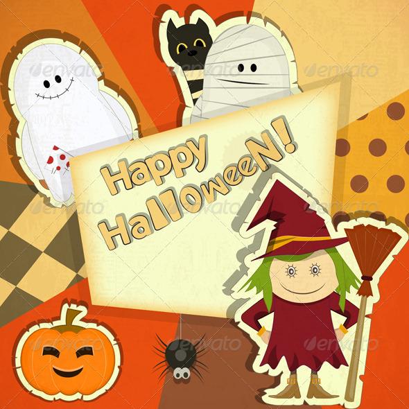 GraphicRiver Halloween Retro Card 5614347