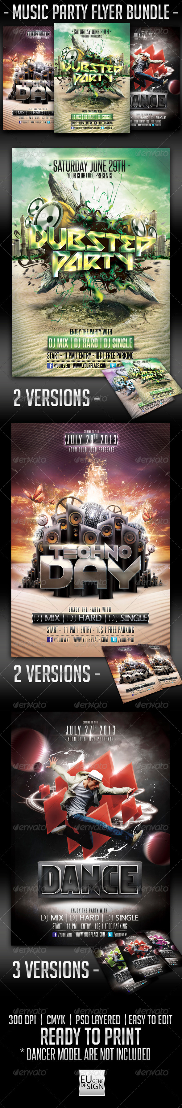 GraphicRiver Music Party Flyer Bundle 5614392