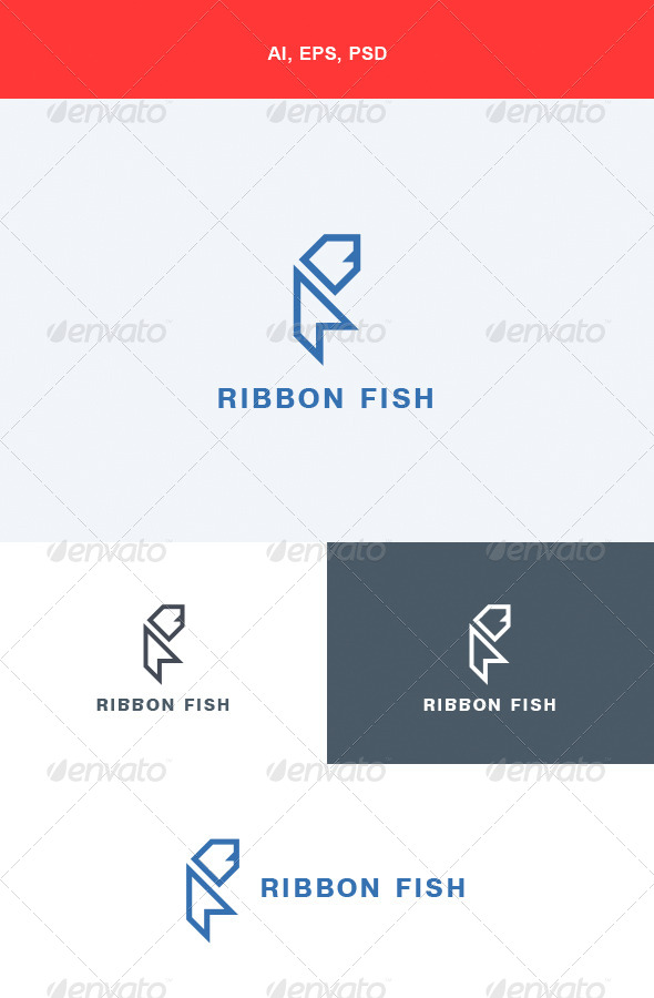 GraphicRiver Ribbon Fish Logo 5615158