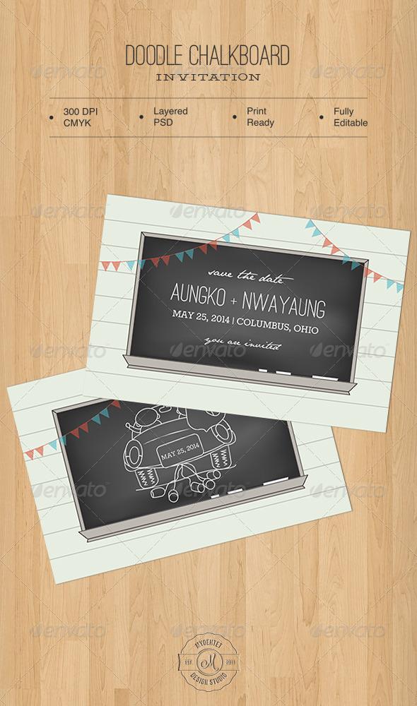 Doodle Chalkboard Invitation
