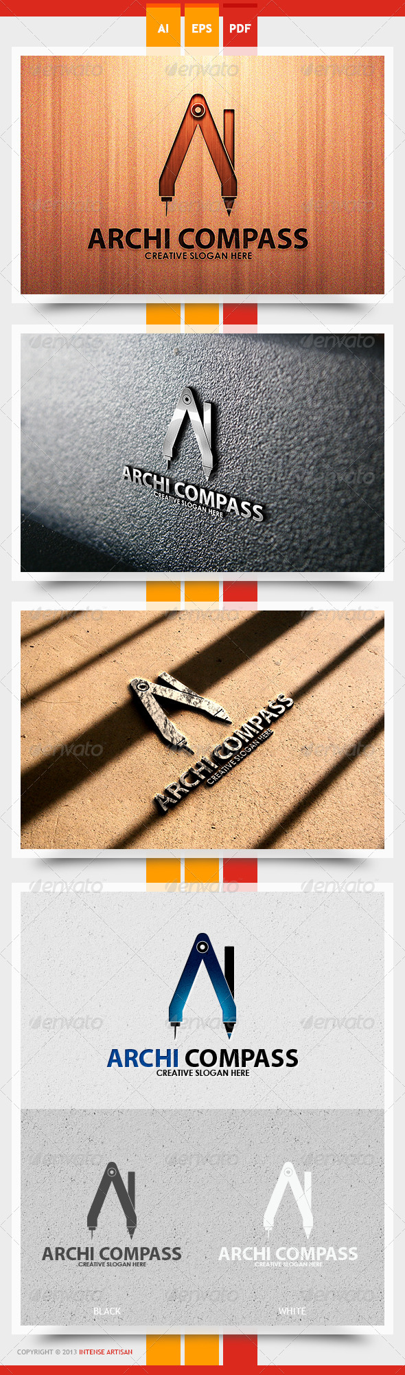 GraphicRiver Archi Compass Logo Template 5615450
