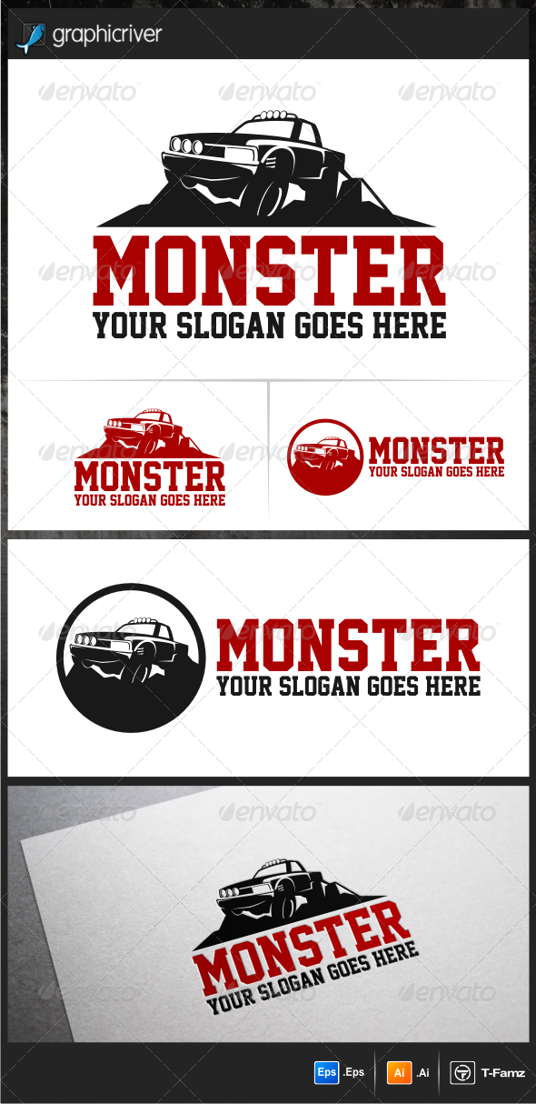 GraphicRiver Monster Car Logo Templates 5615935