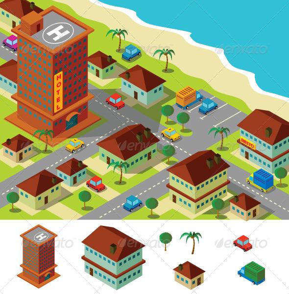 GraphicRiver Isometric Hotel Near Beach 5616142
