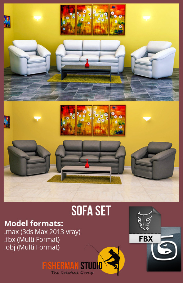 3DOcean Sofa Set with Render Setup 5616778