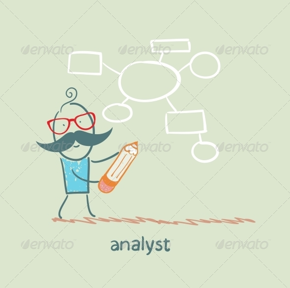 GraphicRiver Analyst Draws a Diagram with a Pencil 5617240