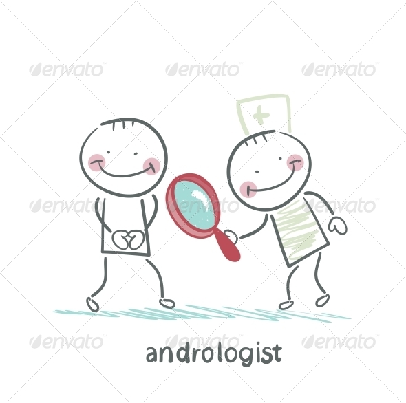 GraphicRiver Andrologist Looking Through a Magnifying Glass 5617245