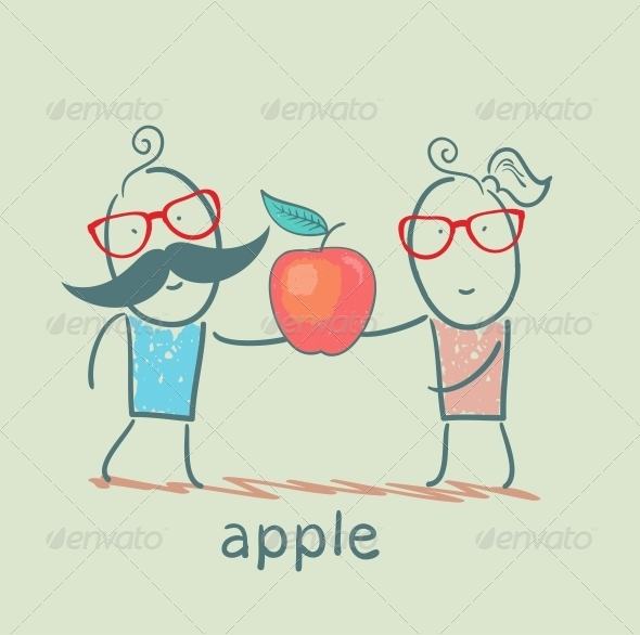 GraphicRiver Girl and Boy Holding an Apple 5617253