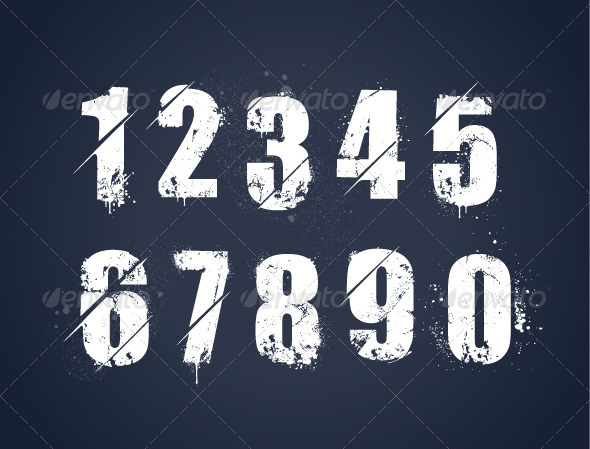 GraphicRiver Grunge Dirty Painted Numbers 5617254