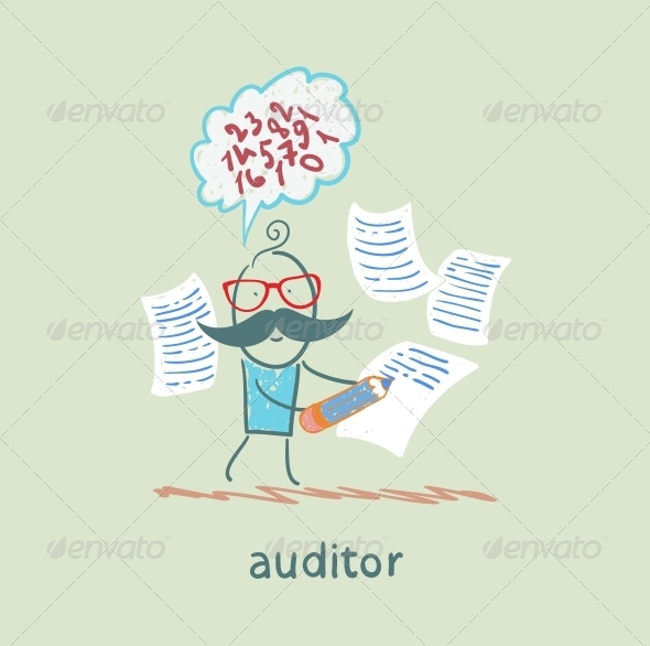 GraphicRiver Auditor Writes on a Piece of Paper 5617344