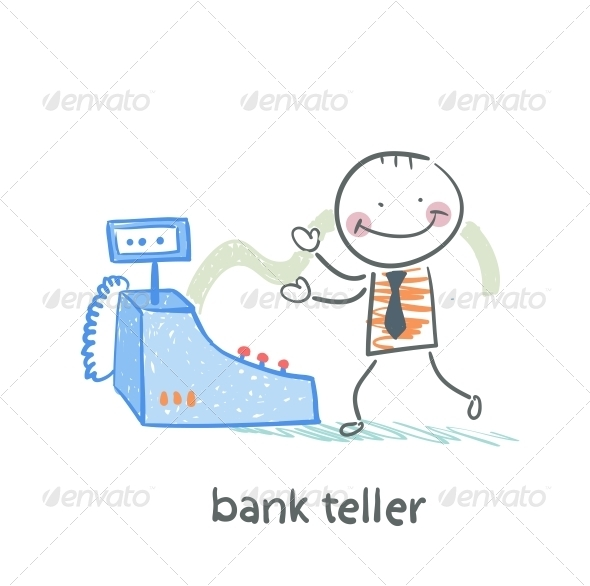 GraphicRiver Bank Teller with the Apparatus 5617512