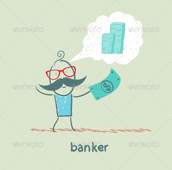 GraphicRiver Banker with a Dollar Thinking About Money 5617517