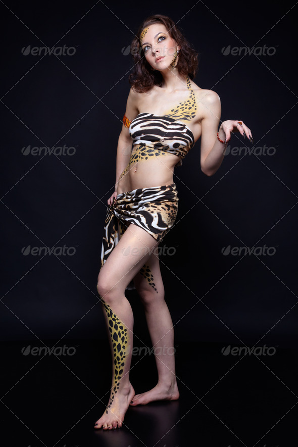 cat girl - Stock Photo - Images