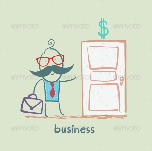 GraphicRiver Businessman Walks into a Door Painted with a Dollar 5617725