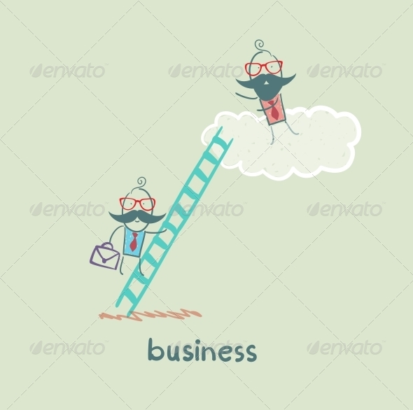 GraphicRiver Businessman Climbing the Stairs to the Cloud 5617727