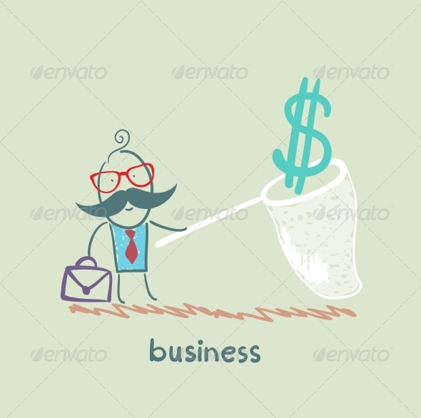 GraphicRiver Businessman Catching a Butterfly Net Dollar 5617766