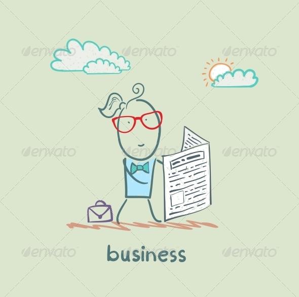 GraphicRiver Businessman Reading a Newspaper 5617821