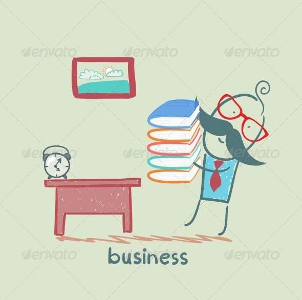 GraphicRiver Businessman goes to his Workplace with a Stack of Books 5617883