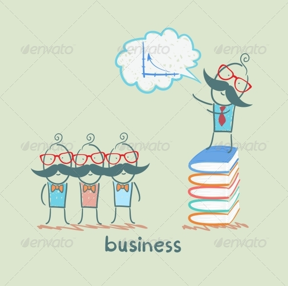 GraphicRiver Businessman Standing on a Pile of Books and Talks 5617911