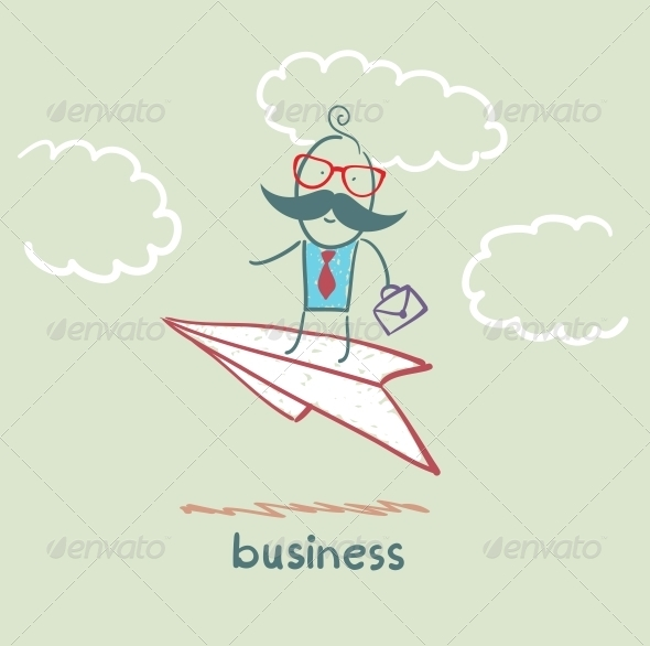 GraphicRiver Businessman Flying on a Paper Airplane 5617917