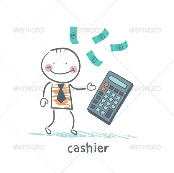GraphicRiver Cashier Counts Money on Calculator 5618048