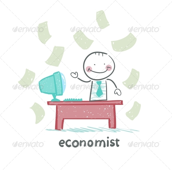 GraphicRiver Economist Sitting at Work 5618480