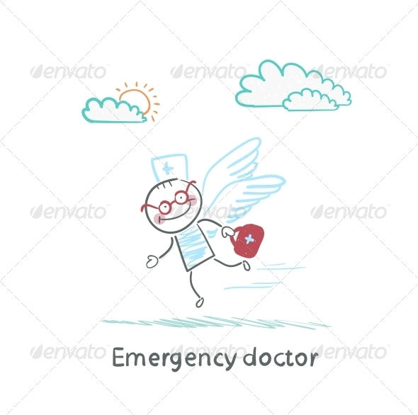GraphicRiver Emergency Doctor is Flying with Wings 5618585