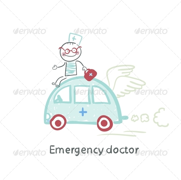 GraphicRiver Emergency Doctor Travels by Car 5618597