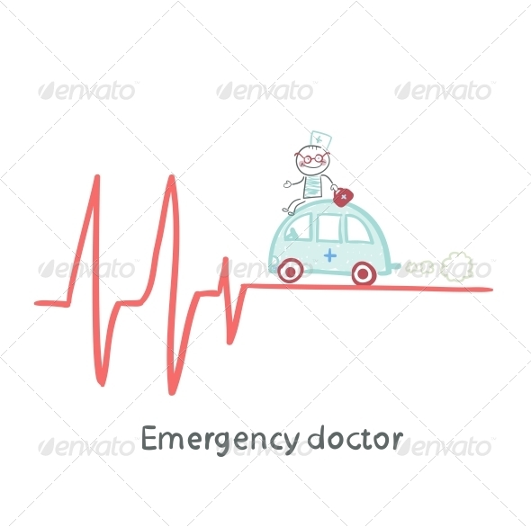 GraphicRiver Emergency Doctor Traveling by Car on ECG 5618636