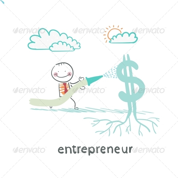 GraphicRiver Entrepreneur Watering from a Hose Dollar 5618689