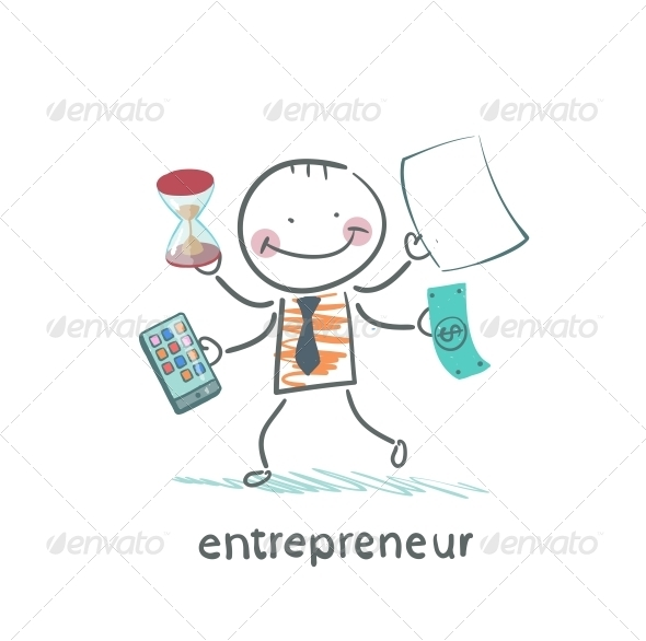 Entrepreneur Holding a Calculator Money Hourglass