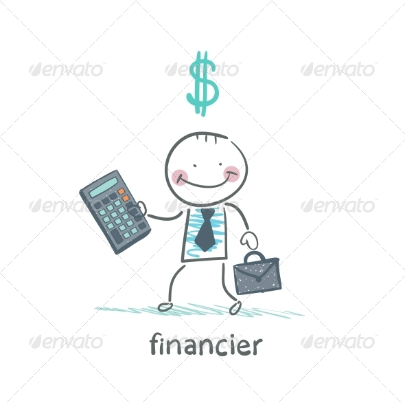 GraphicRiver Financier With a Calculator and Dollar Signs 5618810