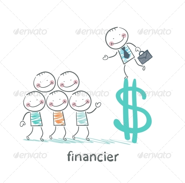 GraphicRiver Financier on a Dollar Sign Talking to People 5618813