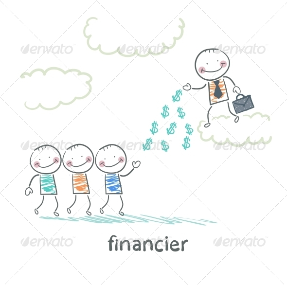GraphicRiver Financier Stands on a Cloud and Throws Money 5618816