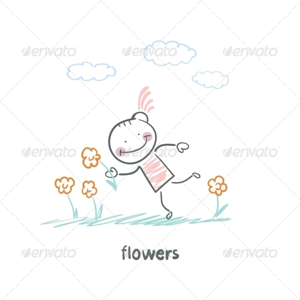 GraphicRiver Girl and Flowers 5618859