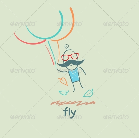 GraphicRiver Flying with Balloons 5618877