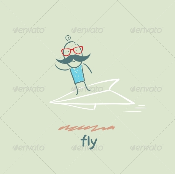 GraphicRiver Flying on Paper Airplane 5618878