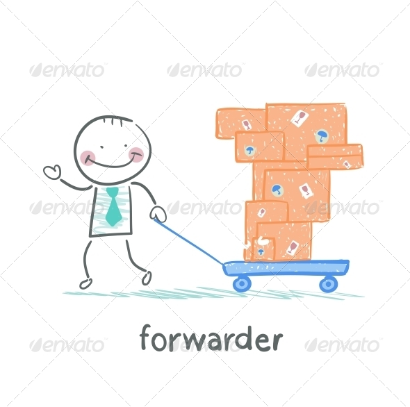 GraphicRiver Forwarder Carries a Wheelbarrow with Boxes 5618884