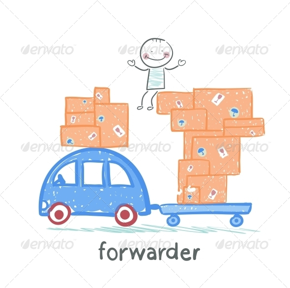GraphicRiver Forwarder Rides on a Car Carrying Boxes 5618888